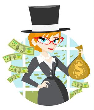 mujer millonaria con su dinero
