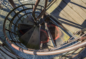 Close up of old spiral staircase