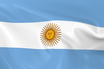 Waving Flag of Argentina - 3D Render of the Argentinian Flag with Silky Texture