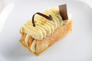Stock Photo: Piece of cake napoleon on white plate