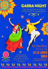 Couple playing Dandiya in disco Garba Night poster