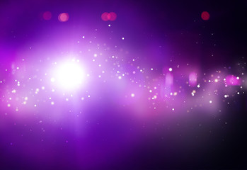 Purple ray lights bokeh glitter defocused  abstract background
