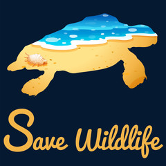 Save wildlife poster with sea turtle