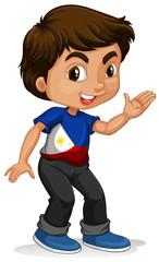 Little boy waving hand