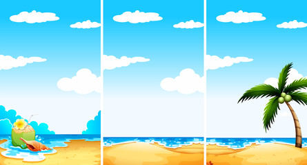 Beach scene in three different viewpoint