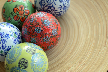 ceramic balls on wood plate for decorative with copy space