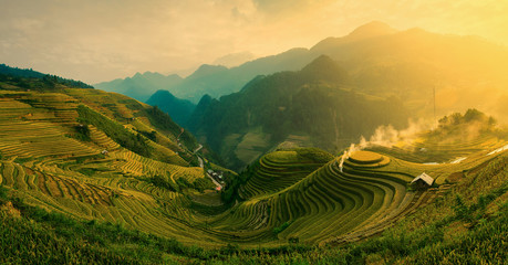 Garden Poster Rice fields Rice fields on terraced of Mu Cang Chai , Vietnam.