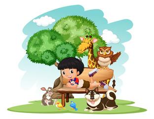 Little boy and wild animals