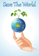 Save the world design with earth and plant
