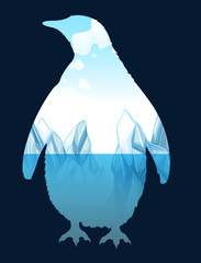 Save wildlife design with penguin