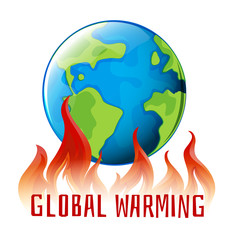 Global warming sign with earth on fire