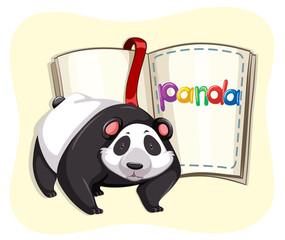 Cute panda and a book