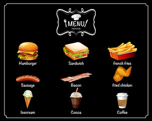 Different menu of fast food
