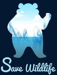 Save wildlife design with polar bear
