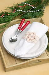 Christmas decorations table setting