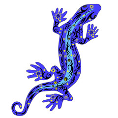 The lizard with a pattern on a back, a reptile a gecko with drawing on a body
