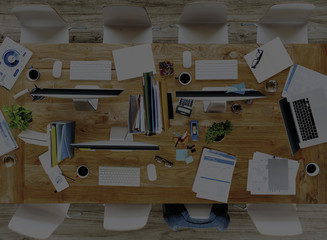 Messy Office Meeting Table No People Concept