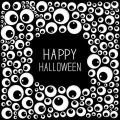 Eyes frame Halloween card. Spooky black background Flat design.