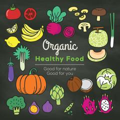 Organic food doodle on chalkboard background