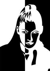 Portrait d'une femme moitié noir, moitié blanc