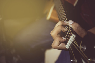 Vintage tone of guitarist plays