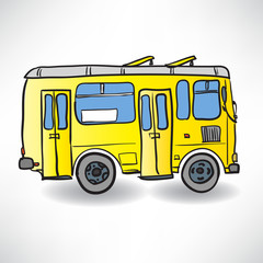 School bus. Vector illustration of a school yellow bus on the ro