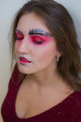 Portrait of sexual beautiful girl with fashion make-up