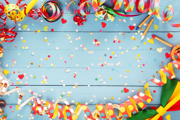 Colorful party streamer and bow tie border