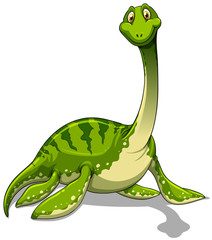 Green brachiosaurus with long neck