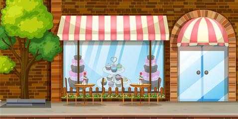 Street scene with bakery shop