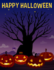 Halloween theme with tree and pumpkins