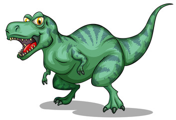 Green tyrannosaurus rex with sharp teeth