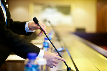 Conference room with microphone