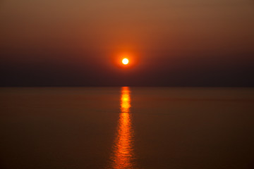 Red sunrise over Lake Malawi.