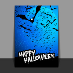 Halloween Flyer or Cover Design with Lots of Flying Bats Over the Night Field in the Darkness Under the Starry Sky and Blue Moon - Vector Illustration