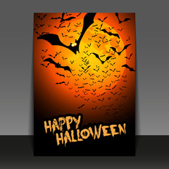 Halloween Flyer or Cover Design - Happy Halloween Card with Lots of Flying Bats in the Darkness - Vector Illustration