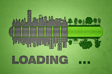 Loading bar. Urbanization and pollution concept.