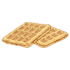 Vector Cartoon Belgian Waffles with Caramel.