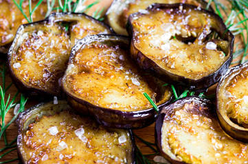 Tapas eggplant fried in oil