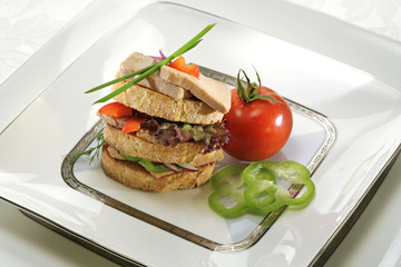 delicious foie gras sandwich with vegetables