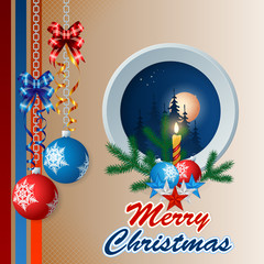 Merry Christmas, design background with Christmas balls hanging from silver chains and bow ribbons, Christmas tree branches and Candle;Moonlight scene with constellation and fir trees on linear design