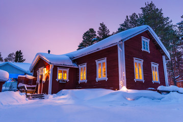 Nice Finnish house during the winter