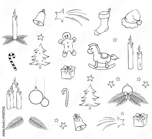 weihnachtssymbole ausmalvorlage set stockfotos und lizenzfreie vektoren auf bild. Black Bedroom Furniture Sets. Home Design Ideas
