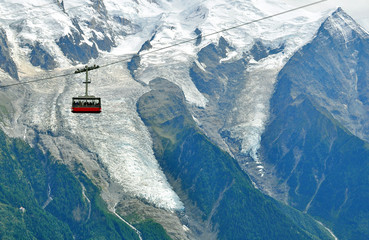 Cable car in mountains