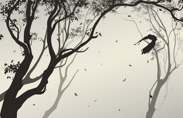 Wall Mural - landscape with a flying owl