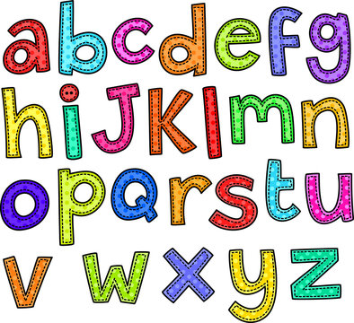 A stitch style doodle set of hand drawn alphabet letters.