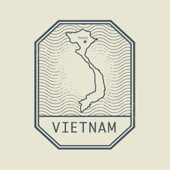 Stamp with the name and map of Vietnam