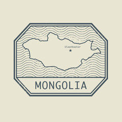 Stamp with the name and map of Mongolia