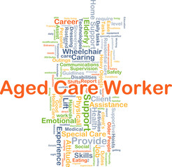 Aged care worker background concept