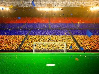 Foto op Plexiglas Stadion Flag Armenia of fans. Evening stadium arena Yellow